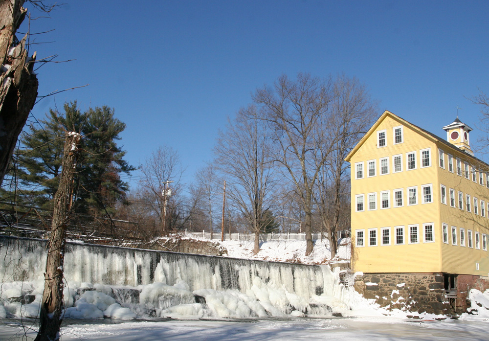 old mill inn with snow